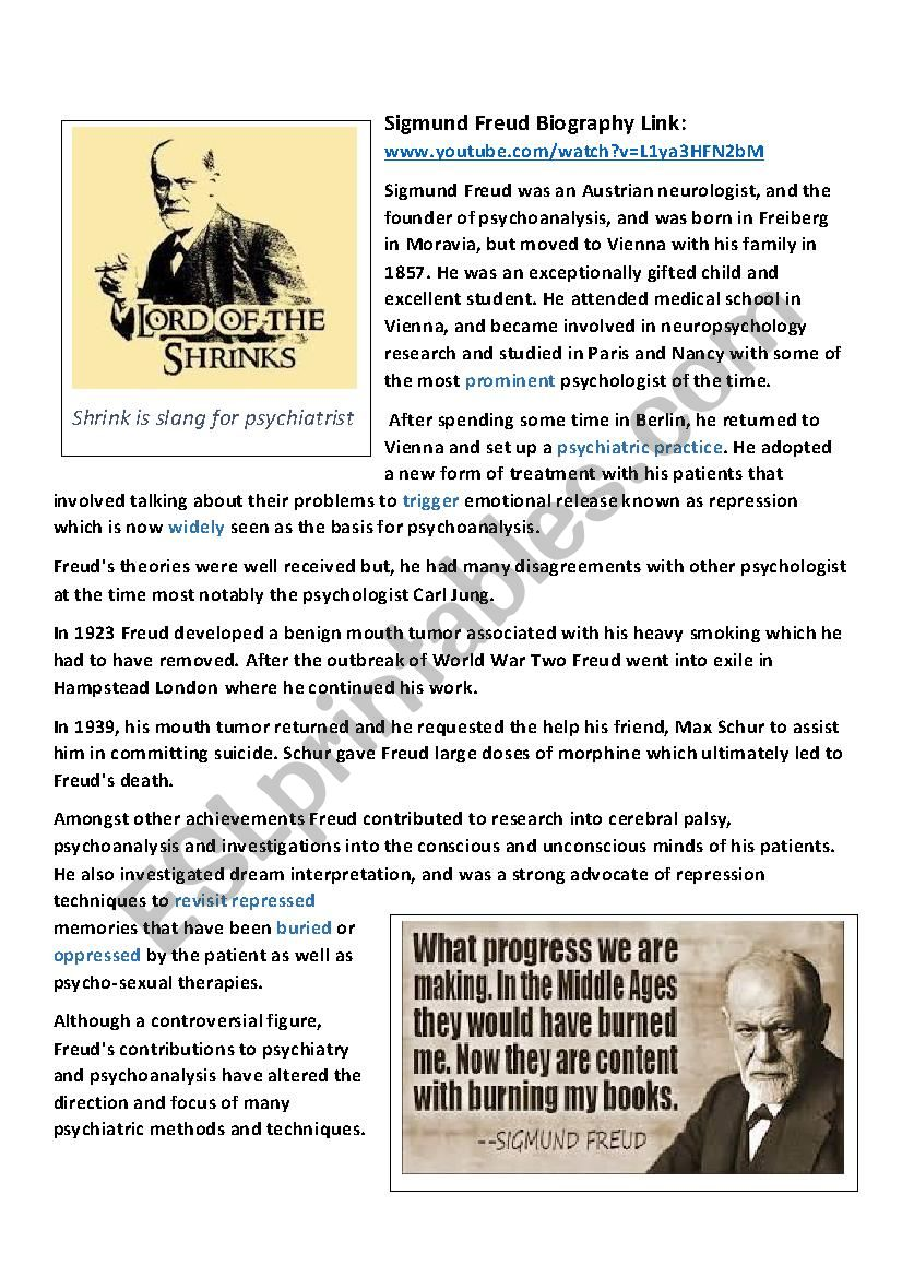 Sigmund Freud Biography worksheet