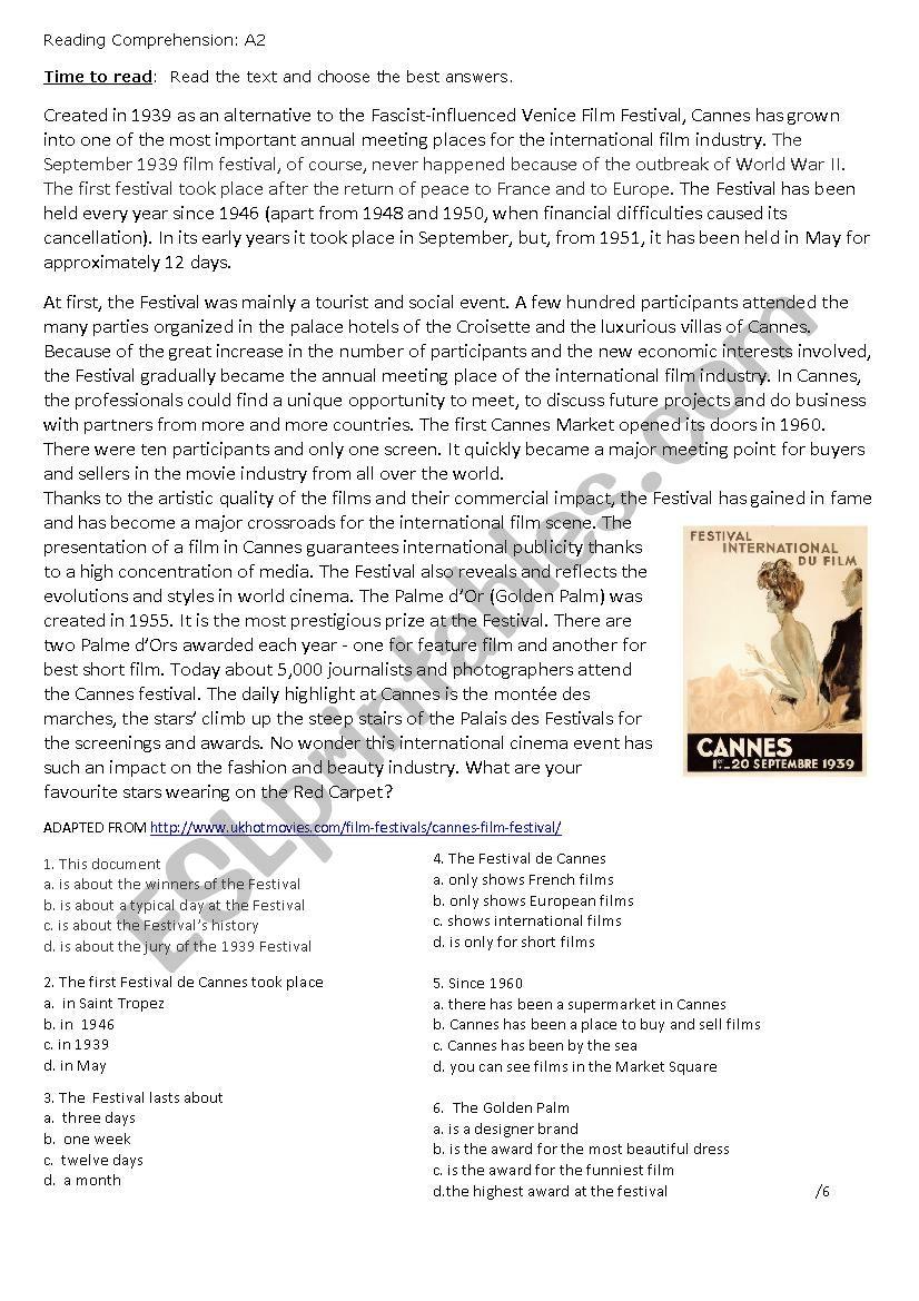 The Cannes Film Festival worksheet