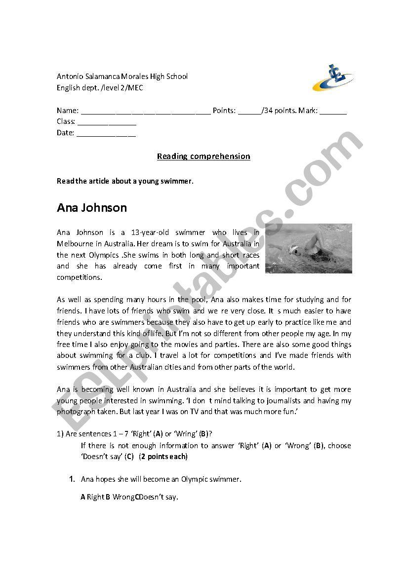 sport reading comprehension esl worksheet by chelooof. Black Bedroom Furniture Sets. Home Design Ideas