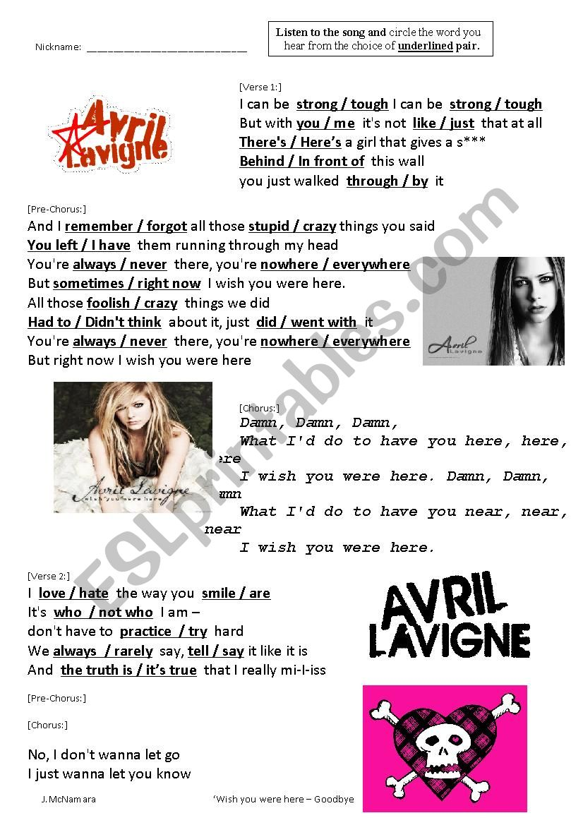 Wish You Were Here - Goodbye Lullaby by Avril Lavigne