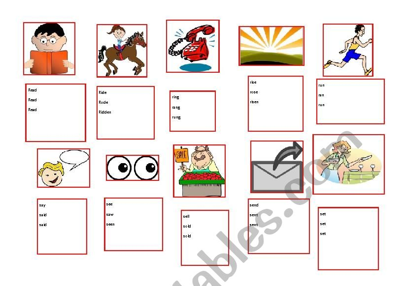 Irregular Verbs - 51-60 - ESL With Clipart - ESL Worksheet By Ashentara