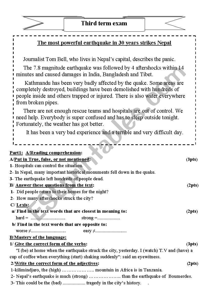 nepal earthquake worksheet