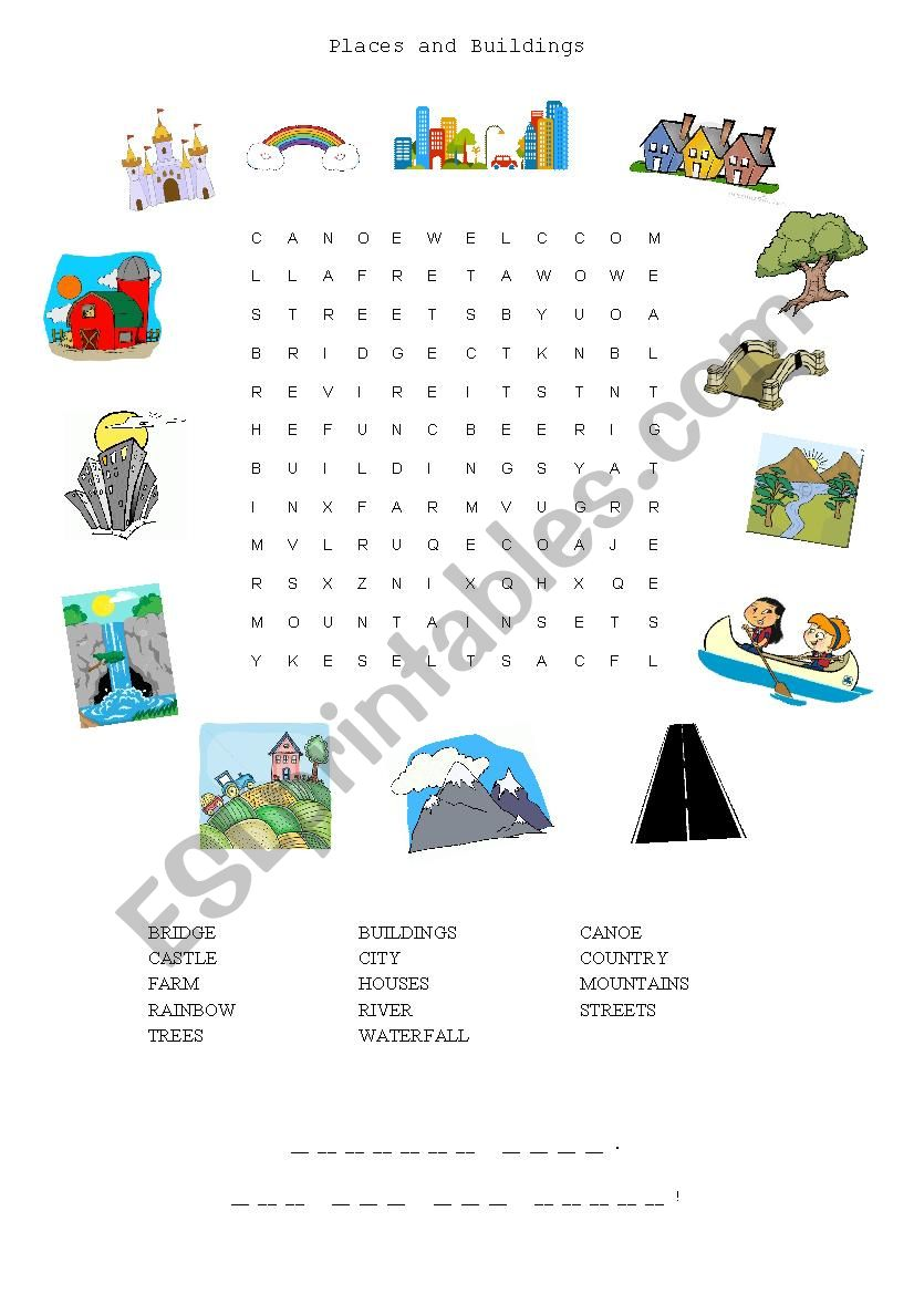 wordsearch revision places in town esl worksheet by malore. Black Bedroom Furniture Sets. Home Design Ideas