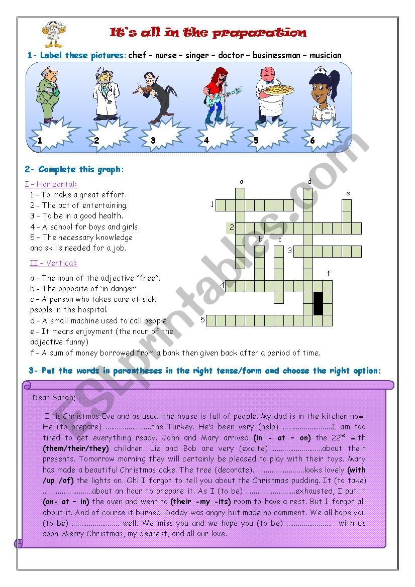 It´s all in the preparation worksheet