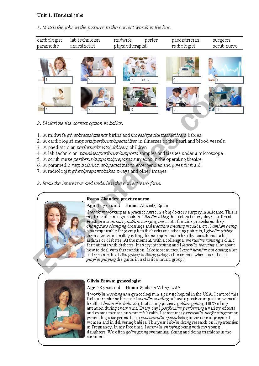 Hospital jobs (Nursing 1) worksheet