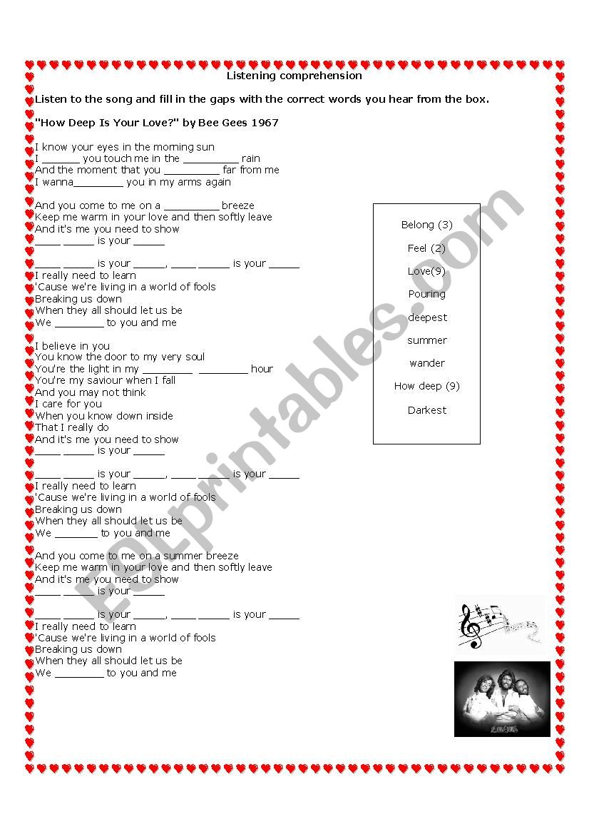 Song: How deep is your love? worksheet