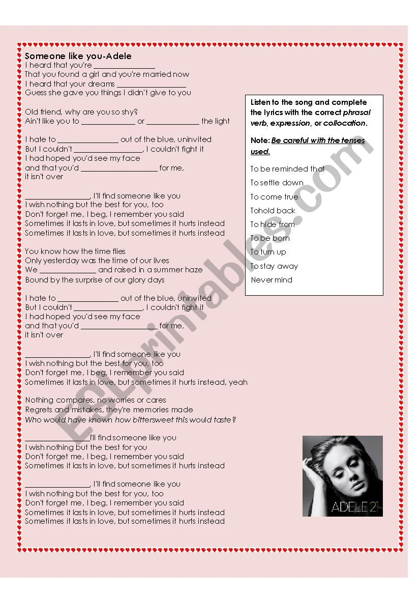 Phrasal verbs in the song