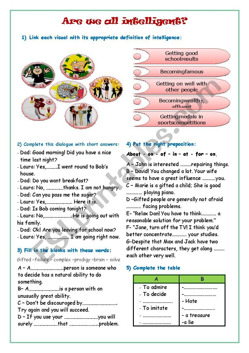 Are we all intelligent ? worksheet