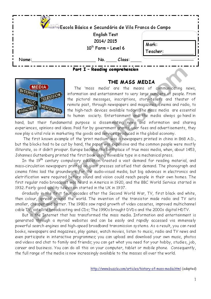 - The Media - 10th Grade Test - ESL Worksheet By Goreti Ponte