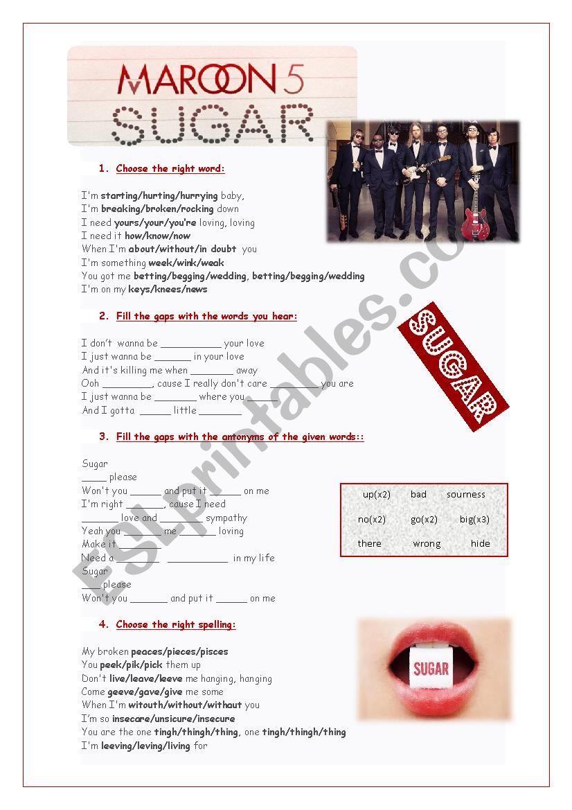 Song: Sugar - Maroon 5 worksheet