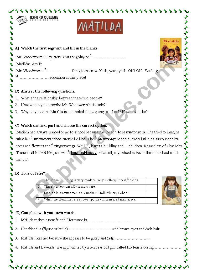 Worksheet For Film Matilda On Roald Dahl Esl Worksheet By Repetitor82