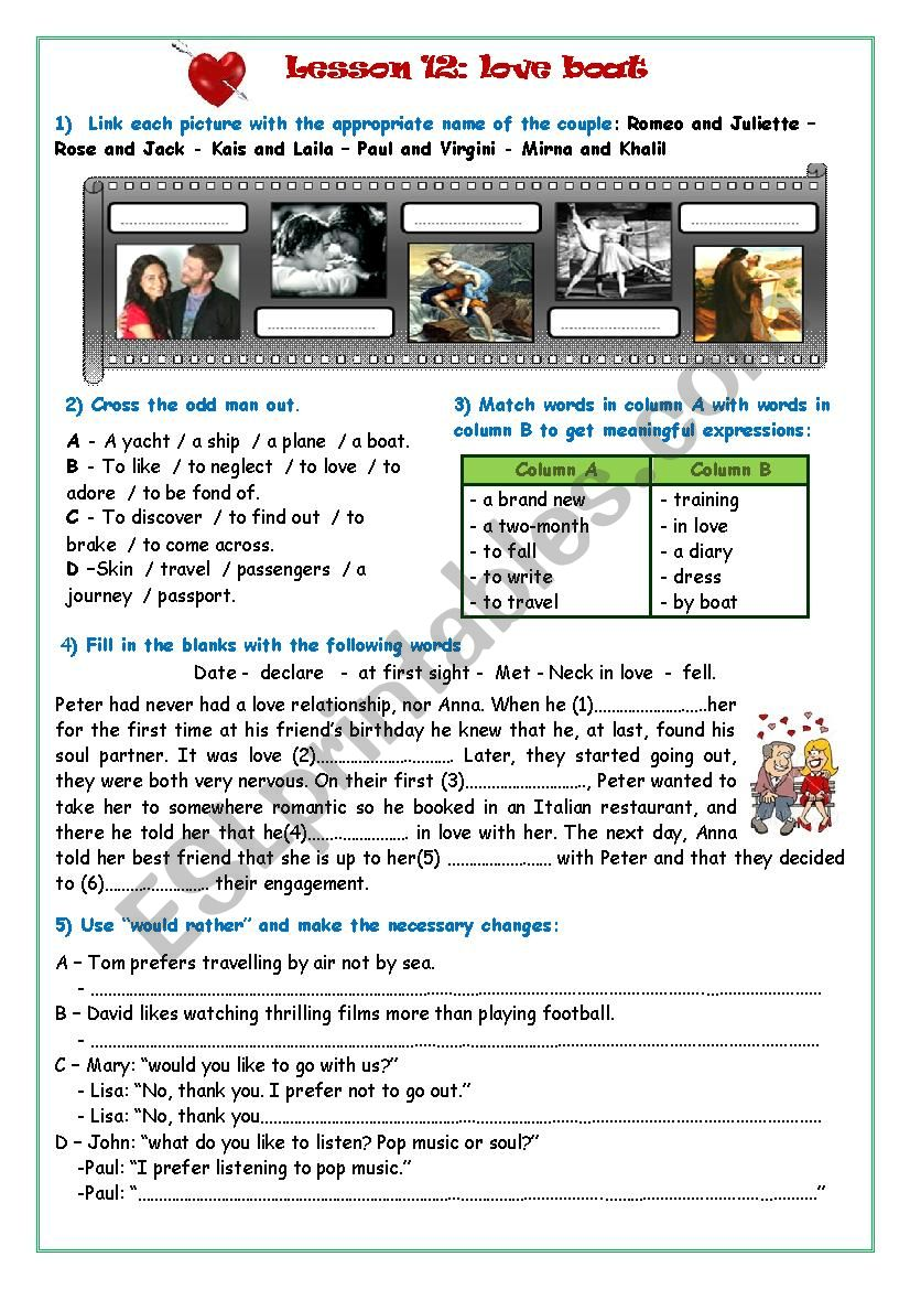Love Boat worksheet