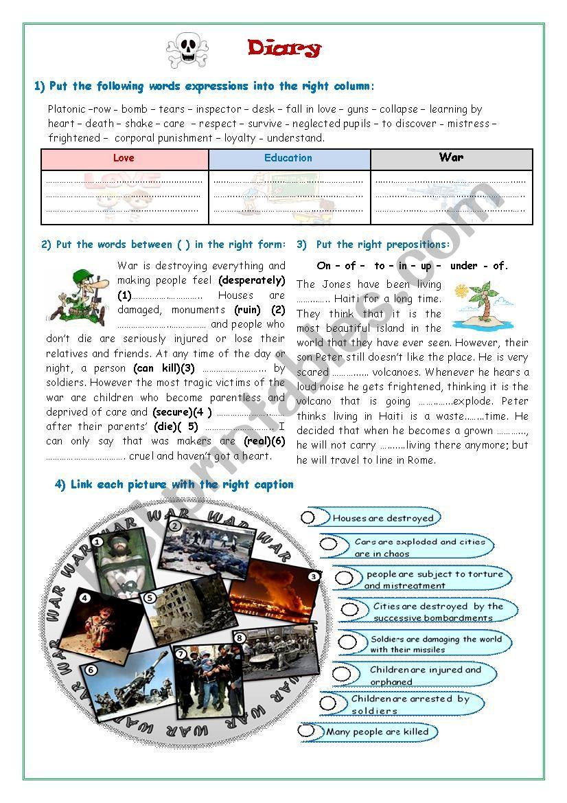 A Diary worksheet