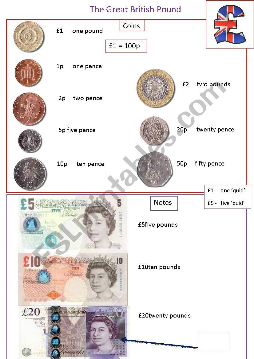 british money information sheet esl worksheet by tigerlily123. Black Bedroom Furniture Sets. Home Design Ideas