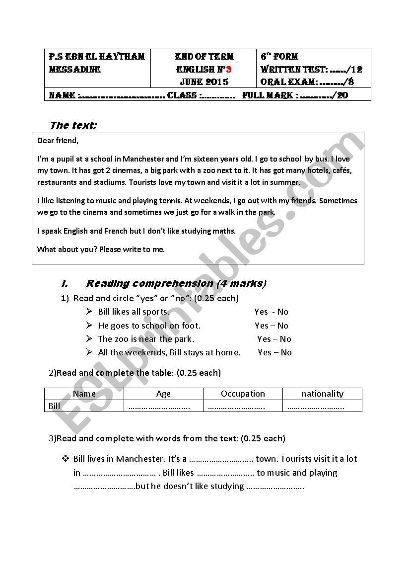 english exam - 6th form  worksheet
