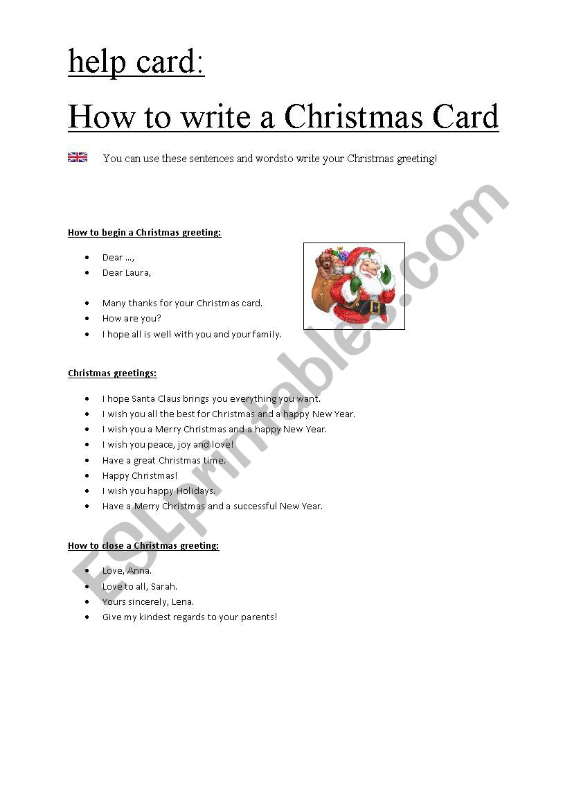 How to write a Christmas Card - ESL
