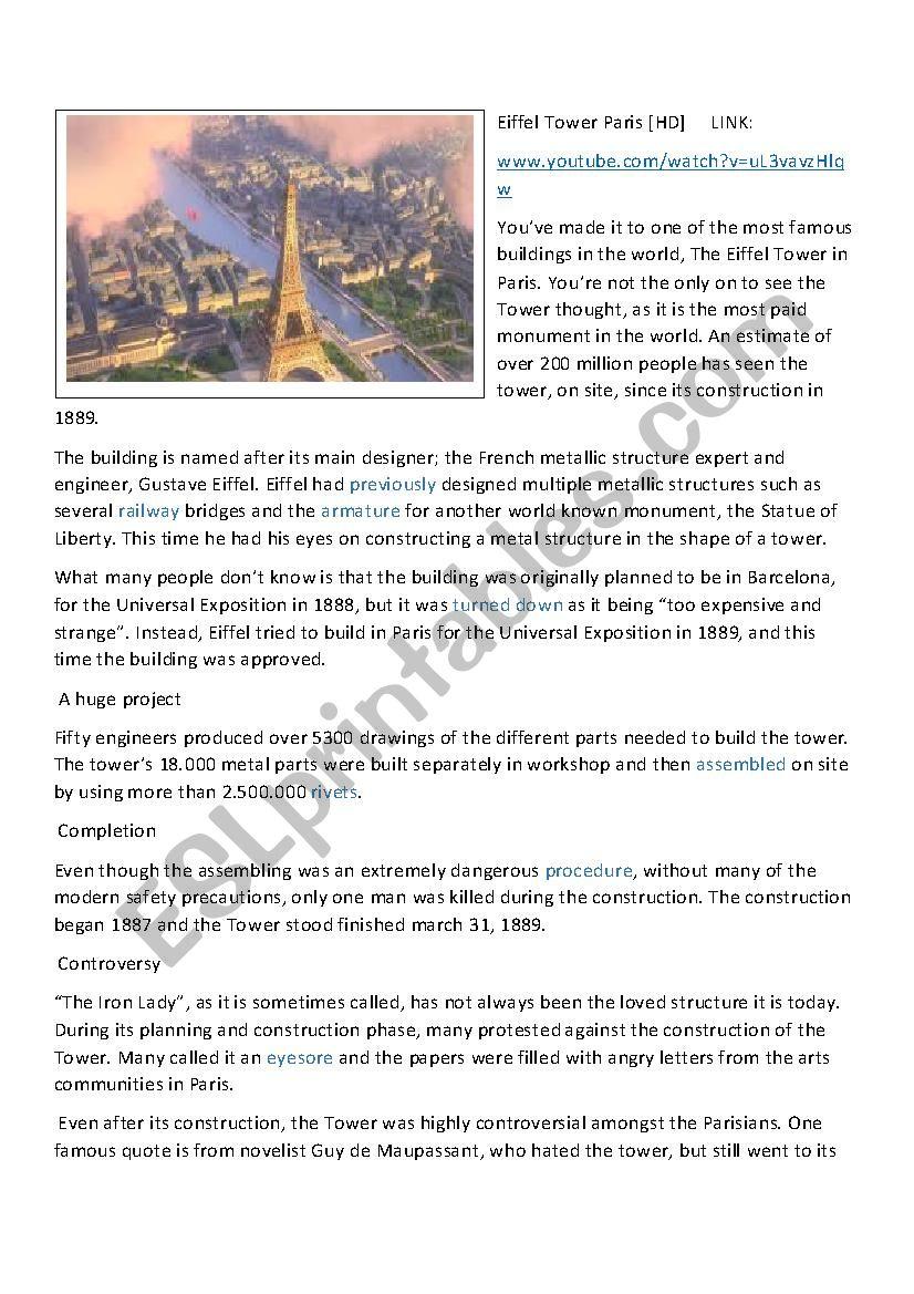 The Eiffel Tower - Paris worksheet
