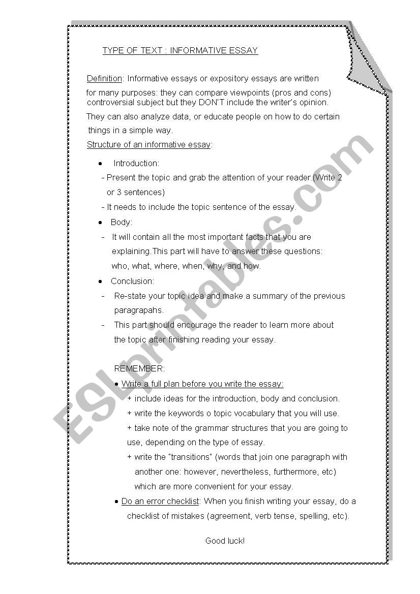 The Yellow Wallpaper Essays  Mental Health Essays also Essays On English Literature Informative Essay  Esl Worksheet By Monicanaponte Help Writing Essay Paper