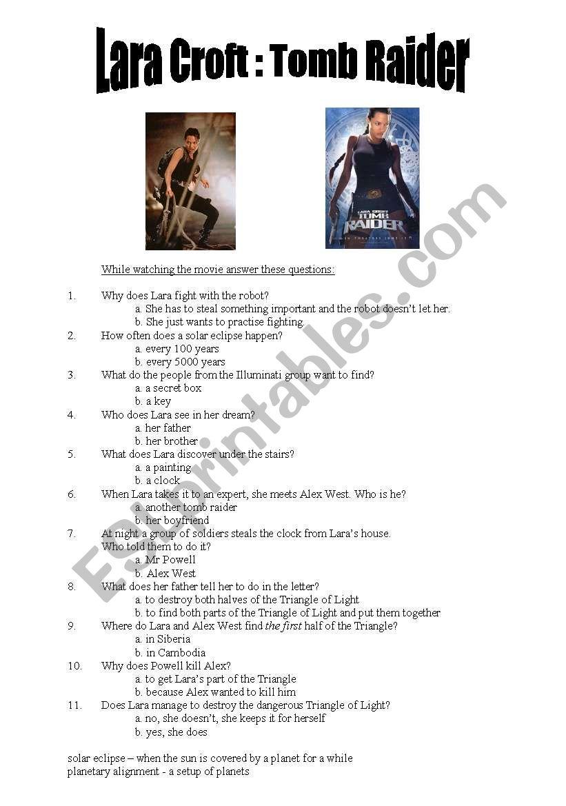 Tomb Raider movie comprehension questionnaire