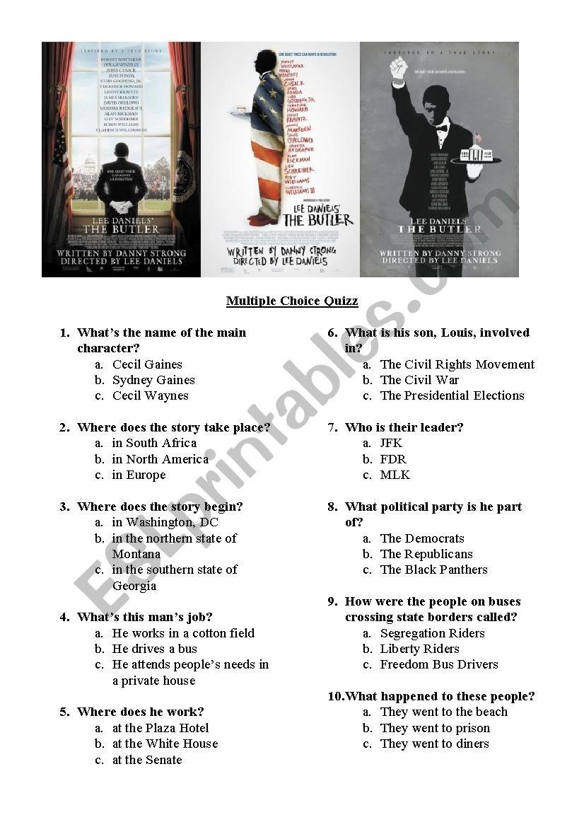 The Butler movie quiz worksheet