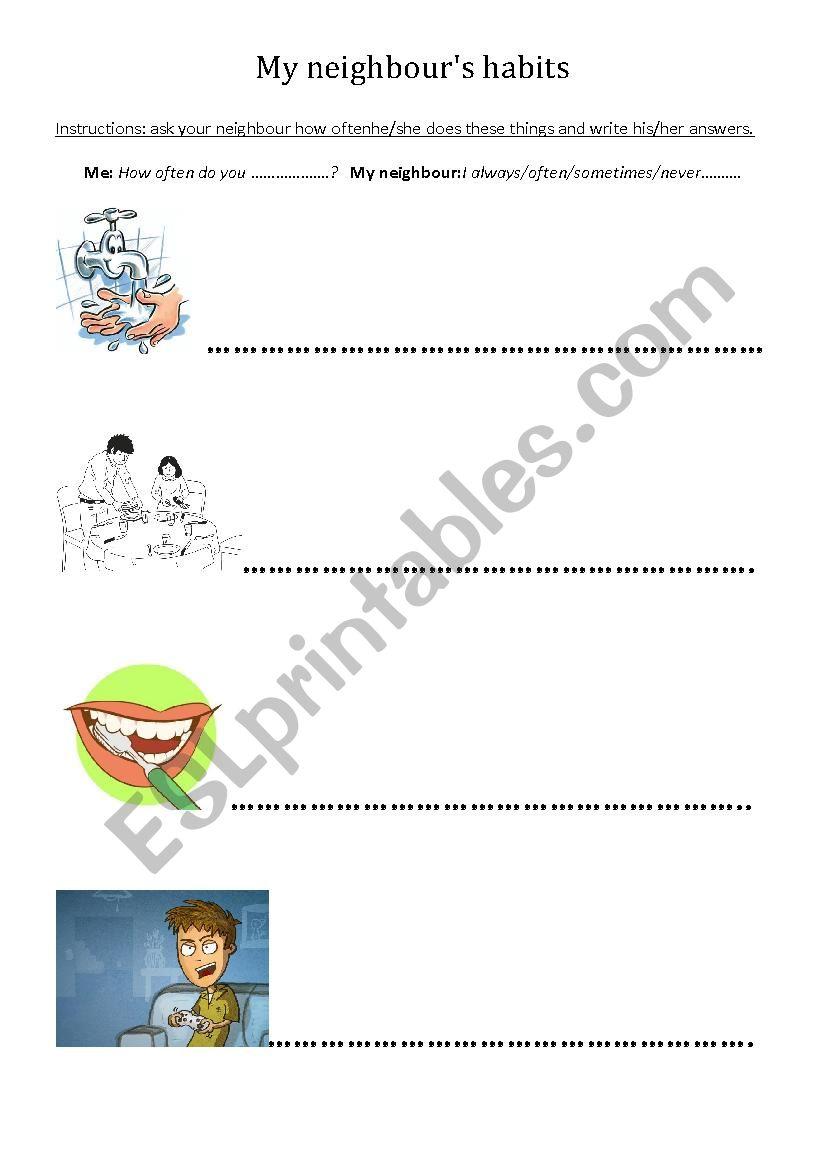 How often do you.....? worksheet