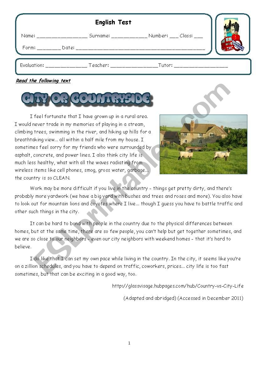 City vs Countryside  worksheet