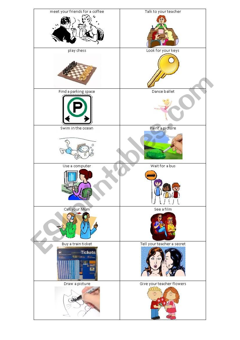 Charades cards for Simple Verb Phrases