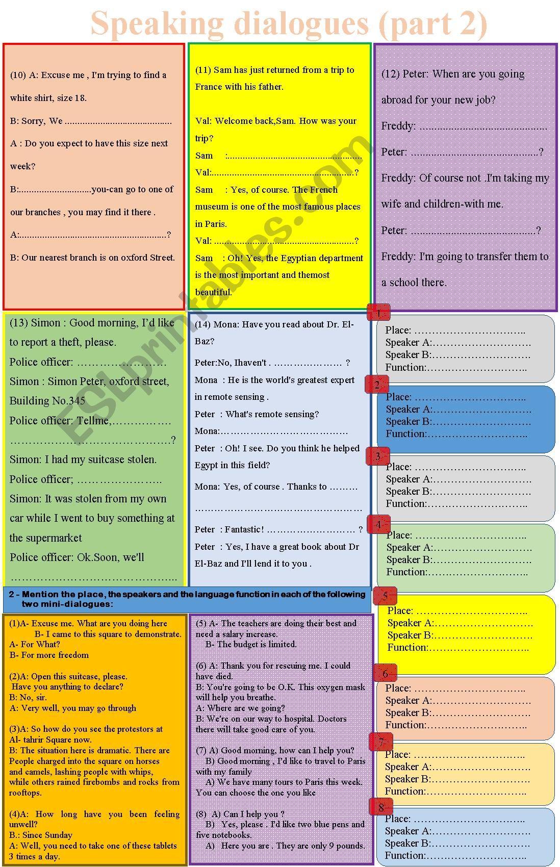 speaking dialogues (part 2)  worksheet