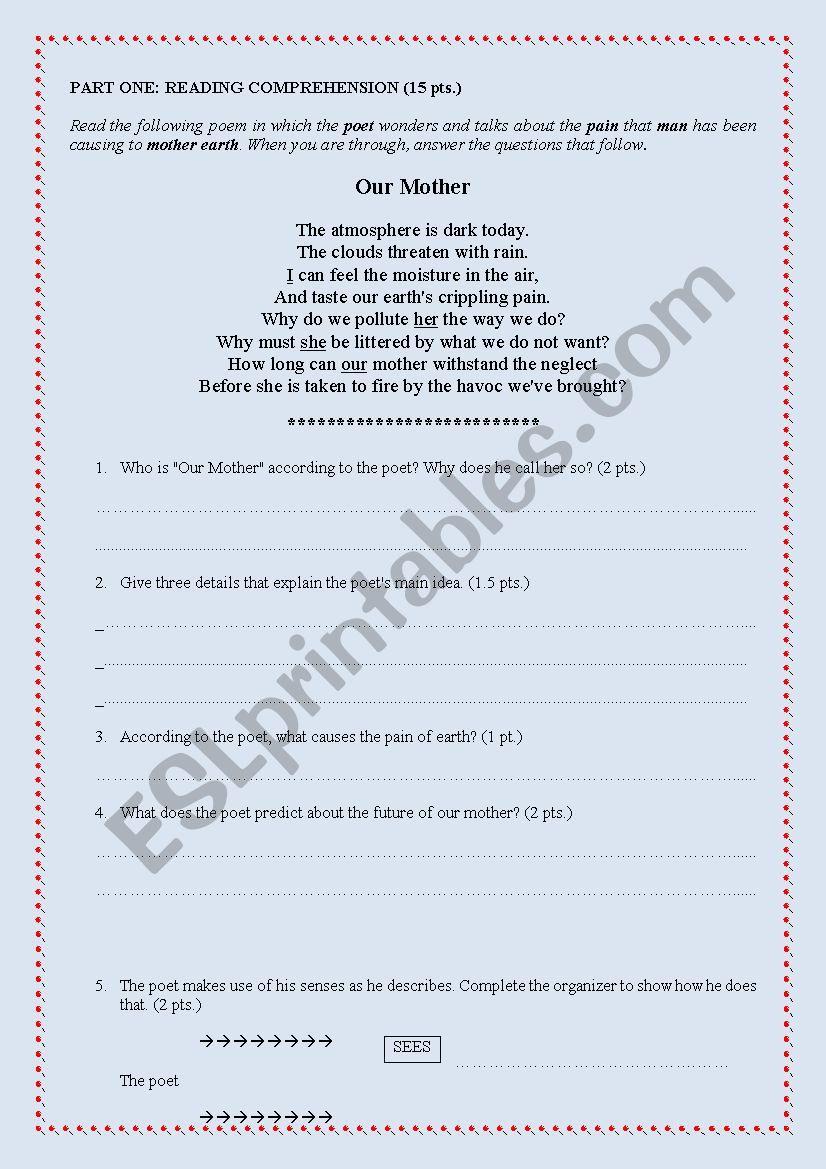 - Poem Exam (Comprehension Questions/grammar/ Writing) - ESL