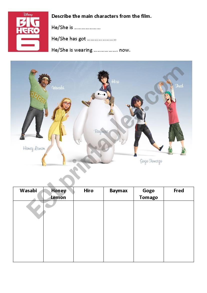 Big Hero 6 Describing people worksheet