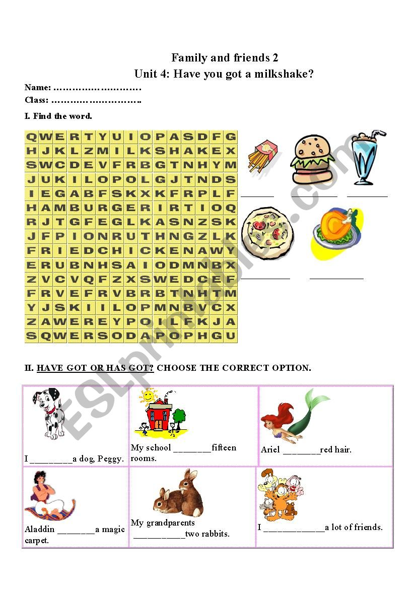 Family and friends 2 unit 4 worksheet