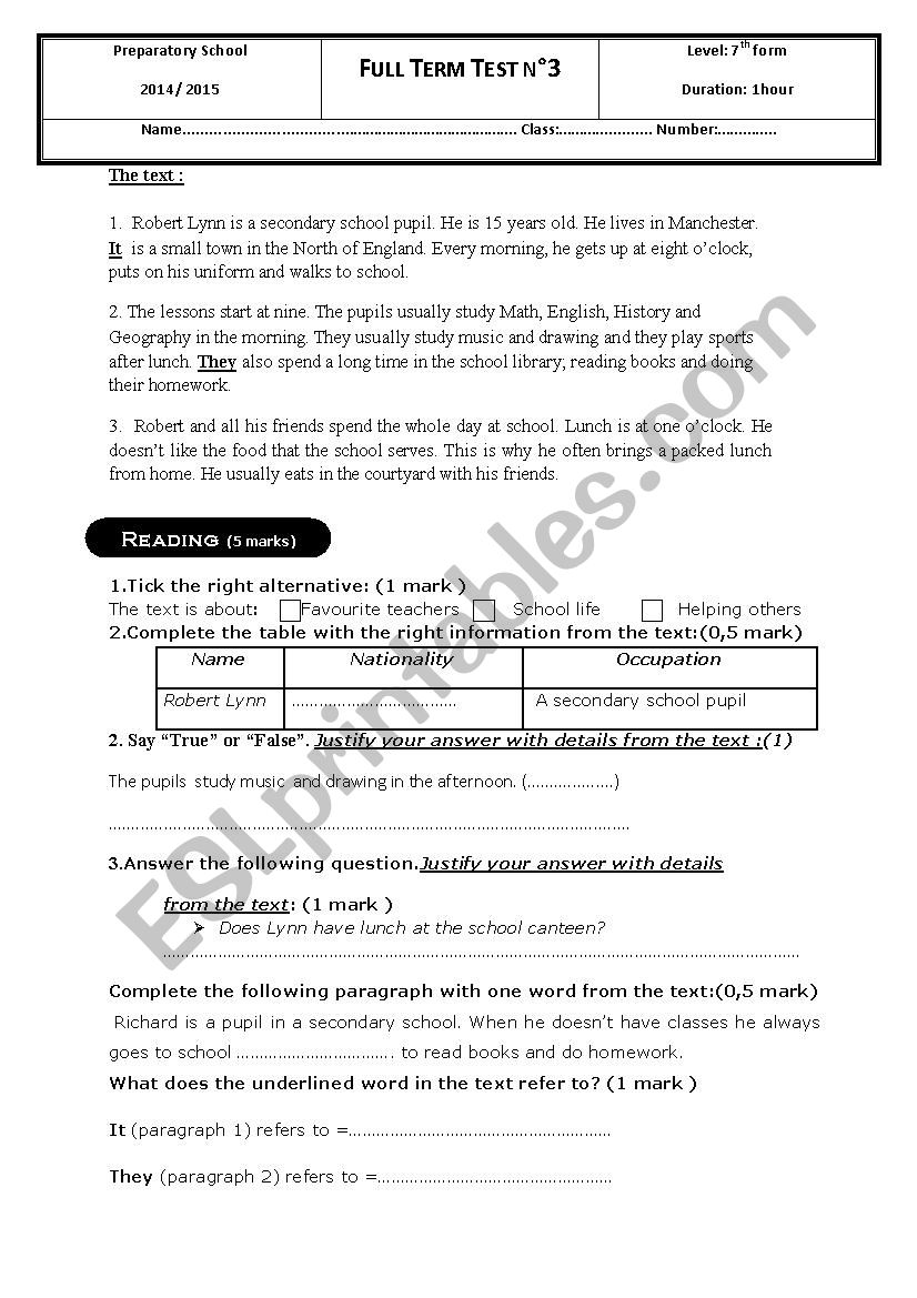 3rd term test - 7th grade worksheet