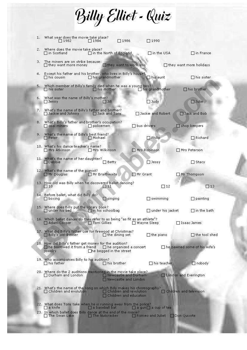 Billy Elliot - quiz worksheet