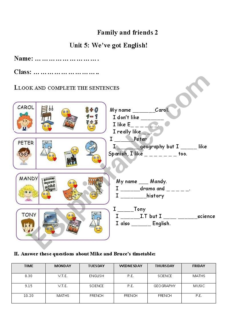 Family and friends 2 unit 5 worksheet