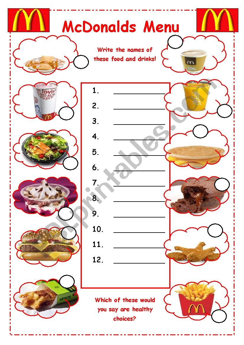 english worksheets  mcdonalds vocabulary worksheet