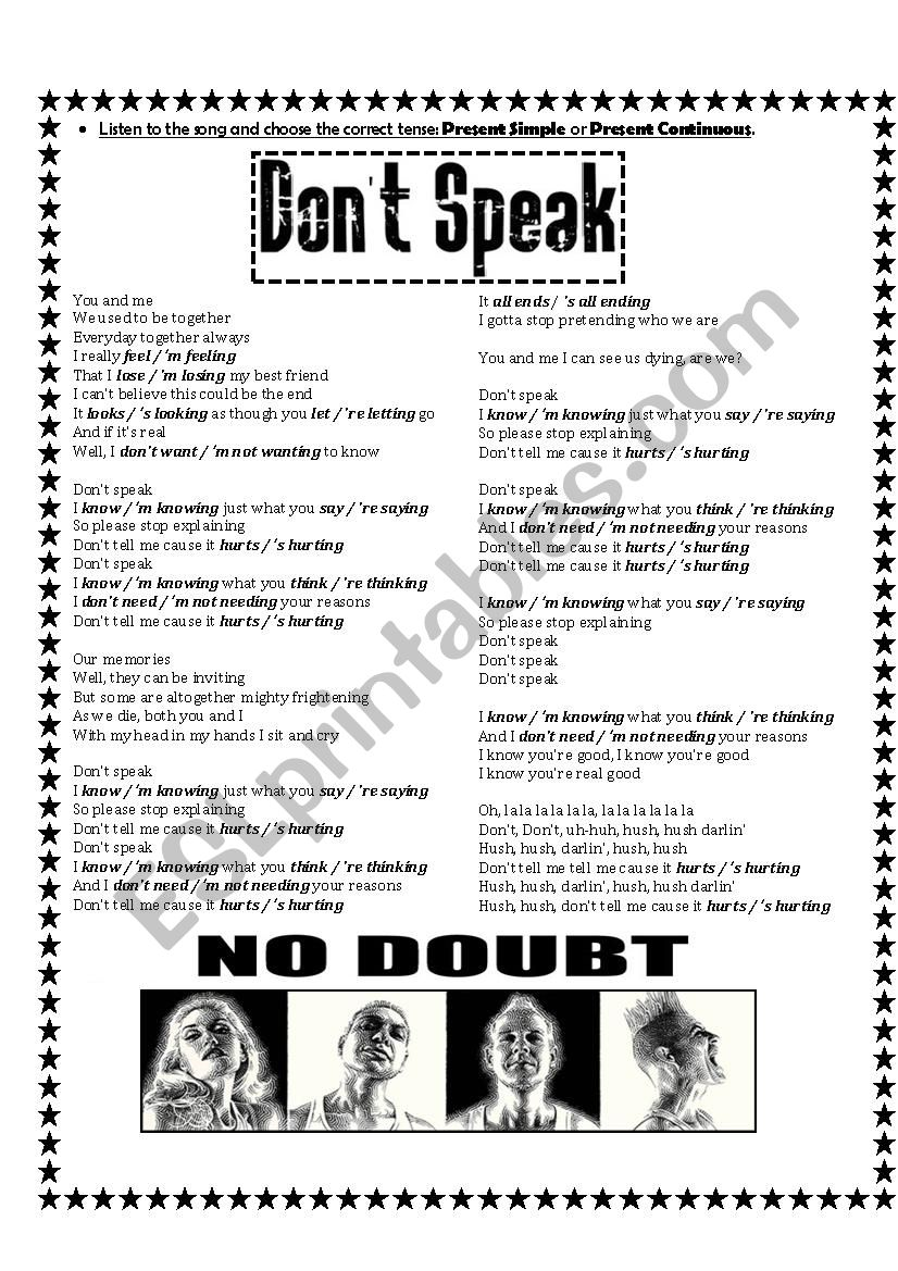 Present Simple & Present Continuous - Song: ´Don´t Speak´ by No Doubt