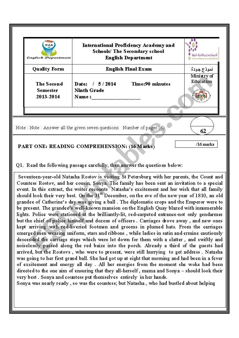 9 th exam - ESL worksheet by aseell