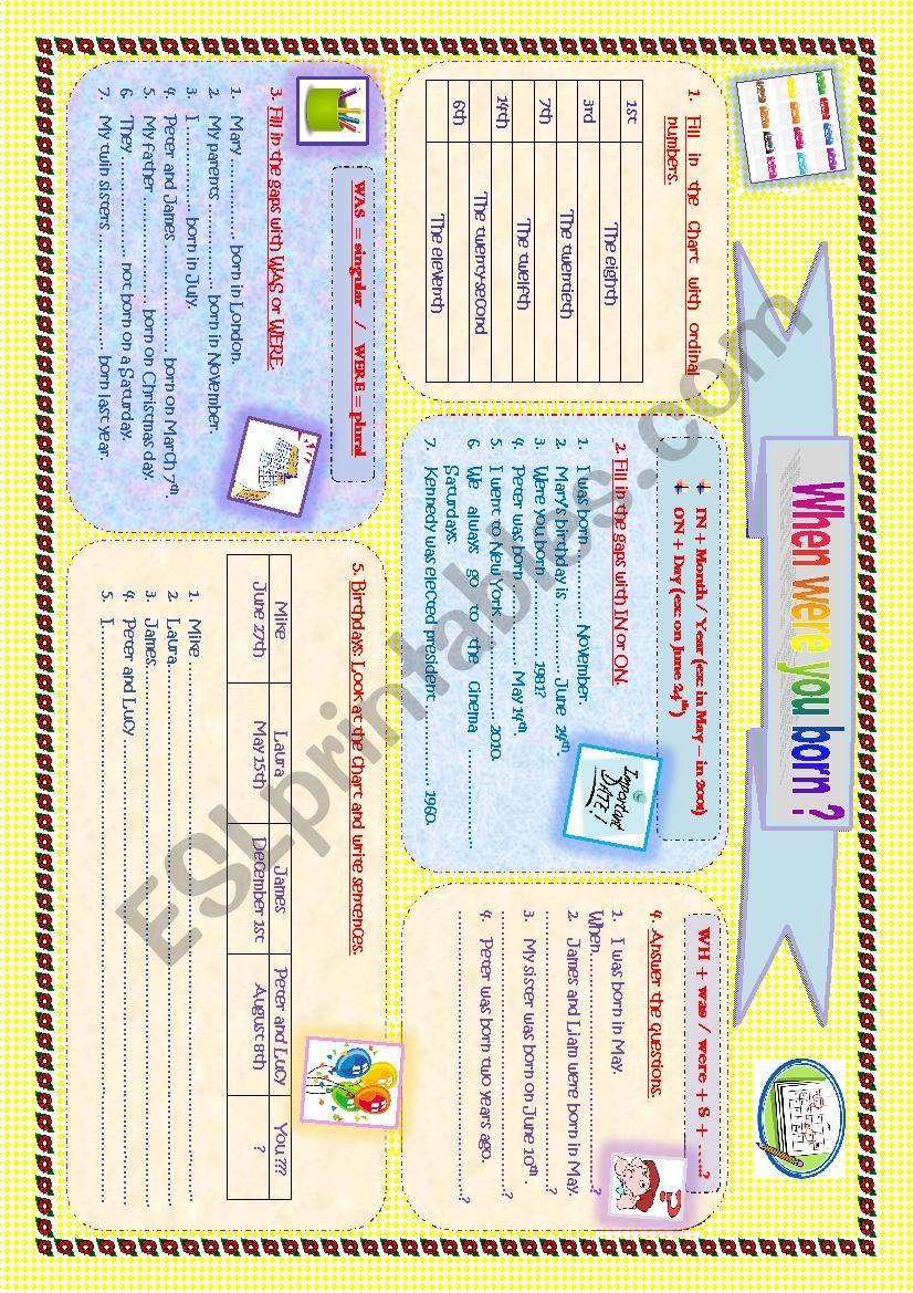 When were you born? worksheet