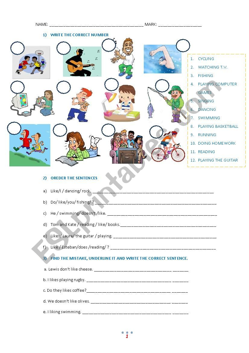 Test about Hobbies and Like worksheet