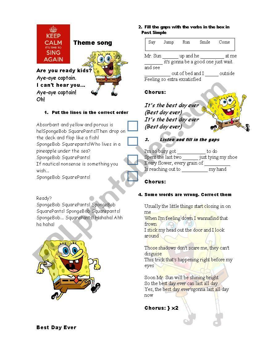 Spongebob theme song worksheet