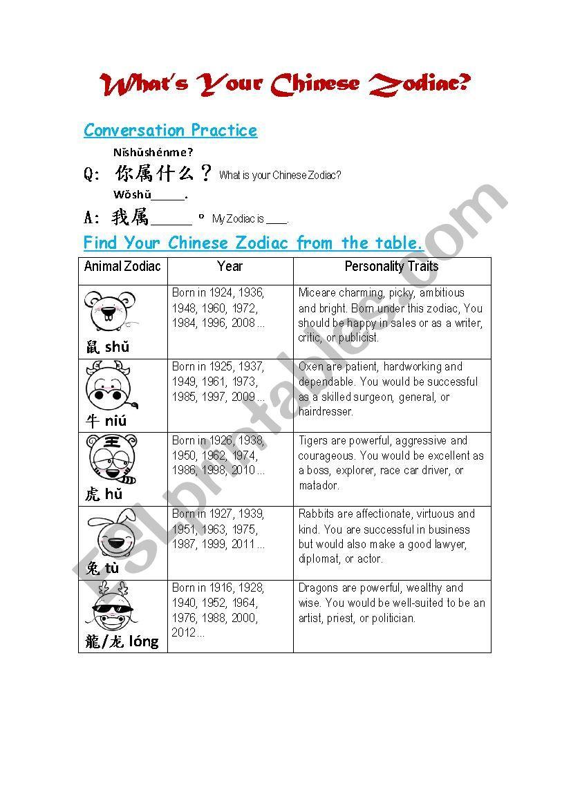 Chinese Zodiac Worksheet worksheet