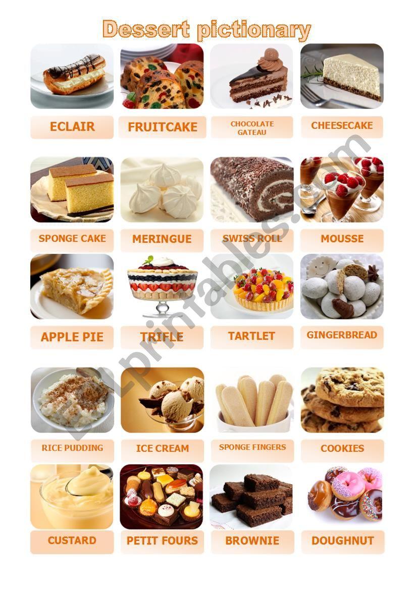 Dessert Pictionary worksheet