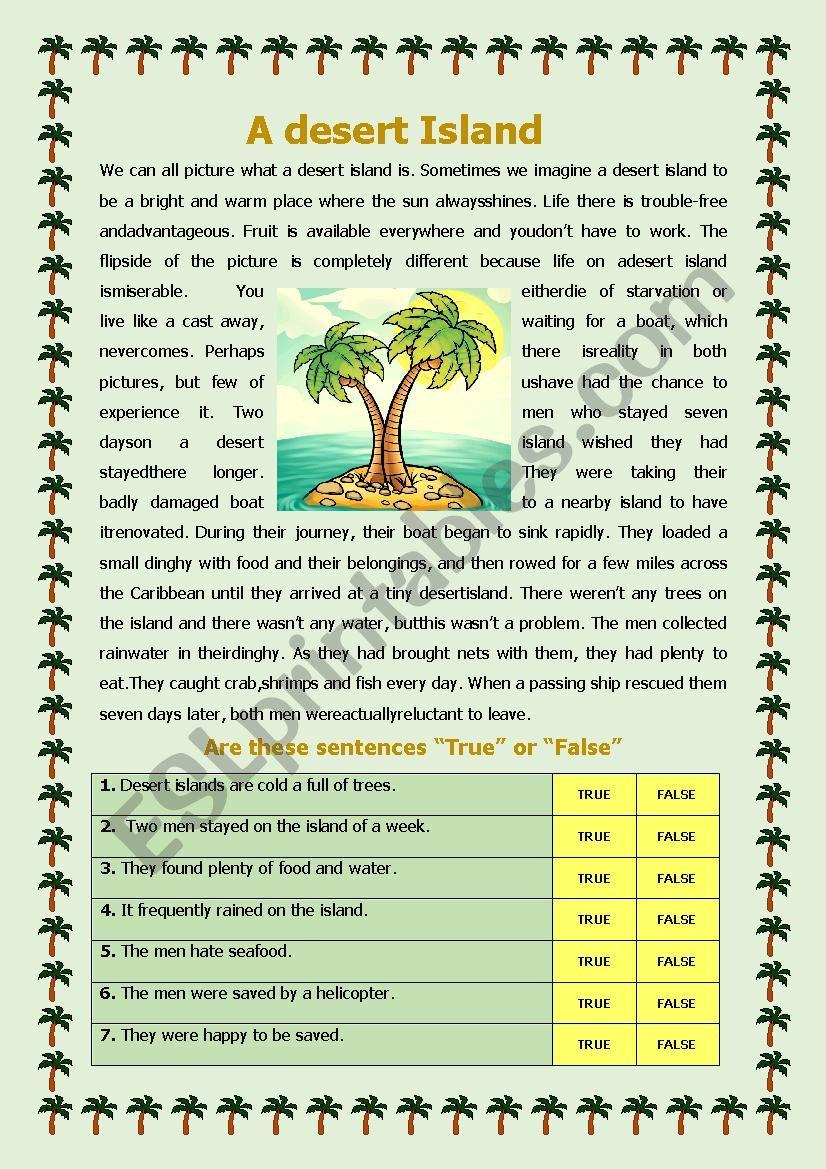 A Desert Island worksheet