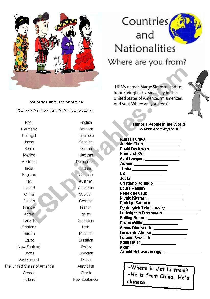 Countries and Nationalities! worksheet
