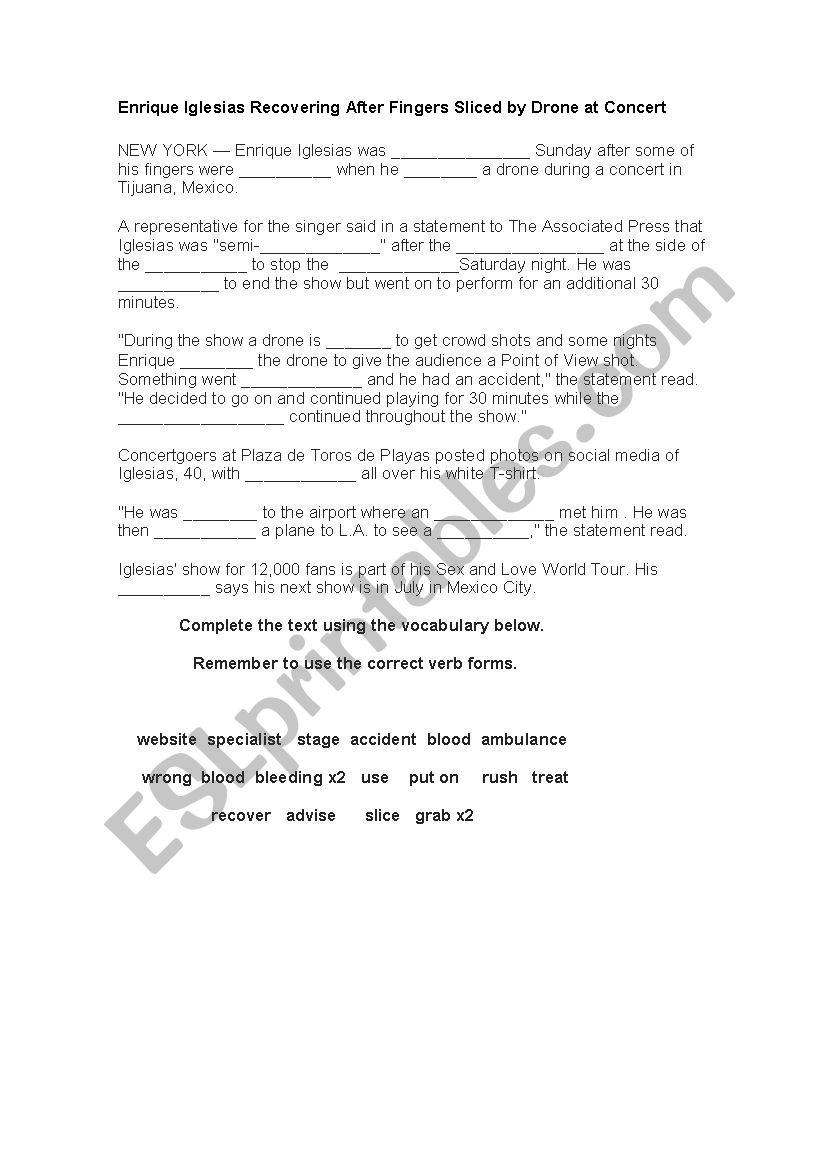 Enrique Iglesias Drone Accident worksheet
