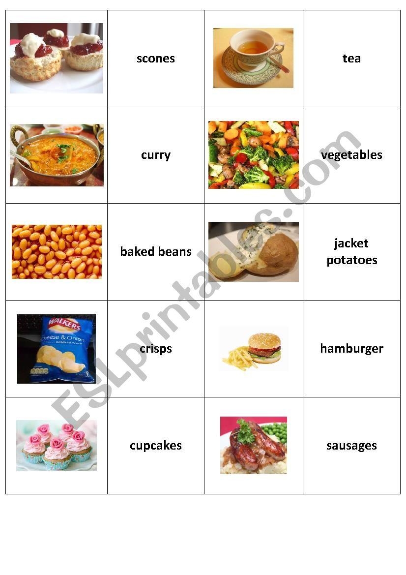 British Food - memory worksheet