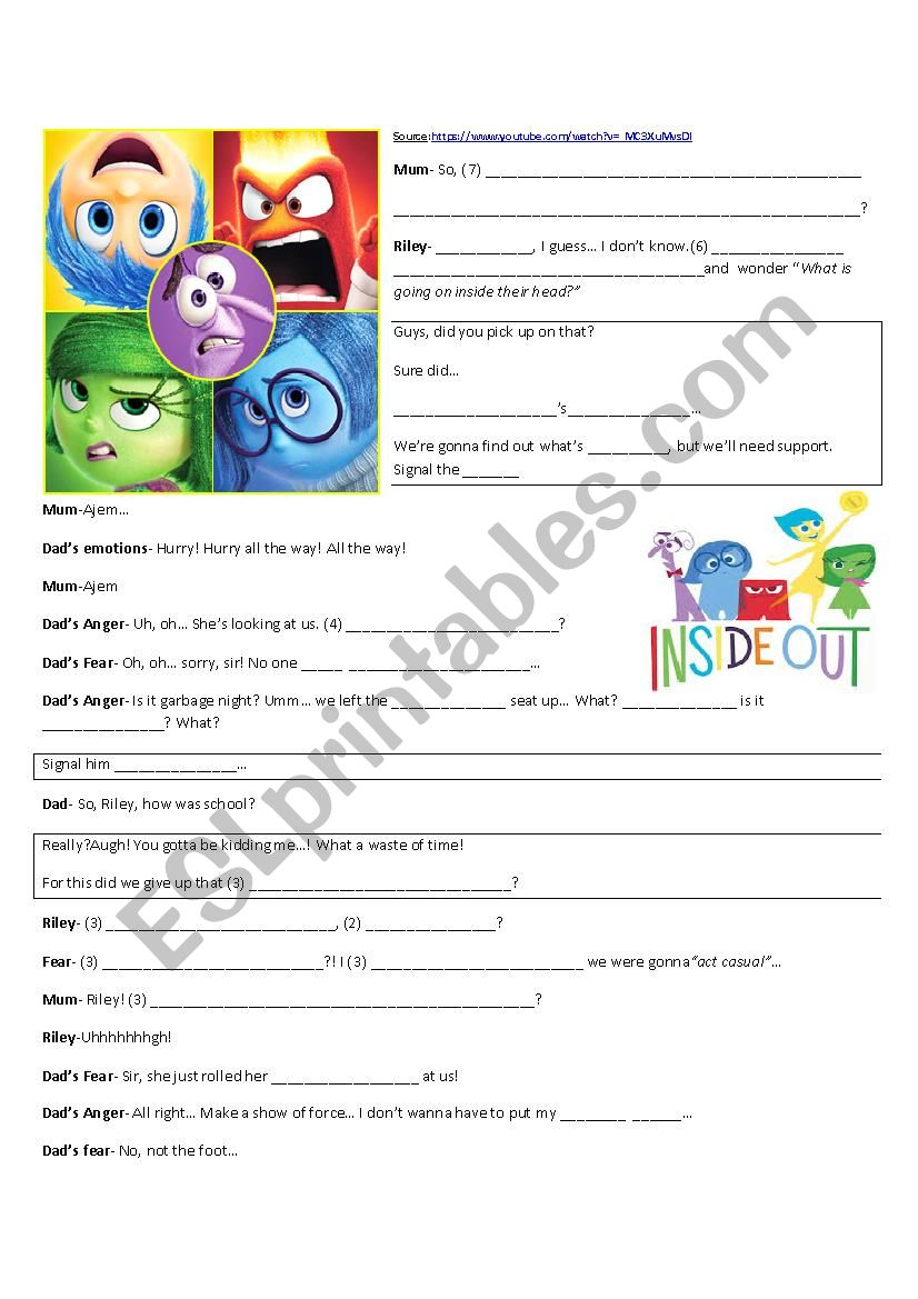 Inside Out Pixar S Movie Esl Worksheet By Silvanadelval
