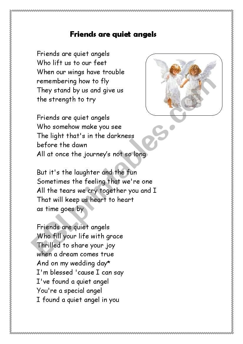 frinds are quiet angels worksheet