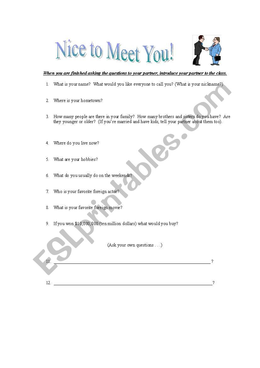 First day of class group questionnaire