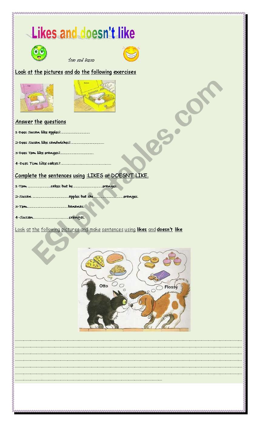 Likes and doesn´t like worksheet